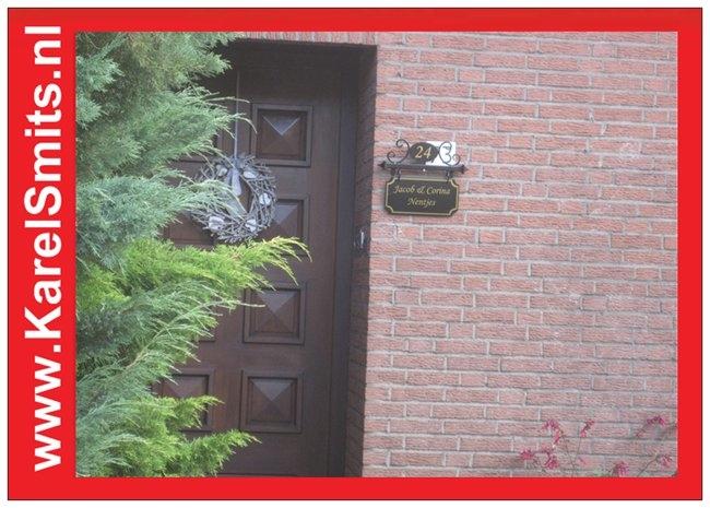 nostalgisch Naambord met Huisnummer Eindhoven Zwart