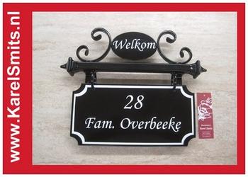 €99,50 Landelijk Naambord Huisnummer Welkom Zwart