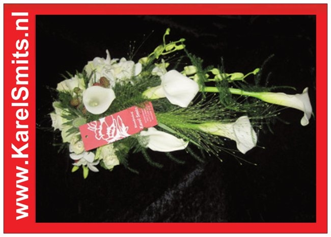 104 Bruidsboeket oplijn Dendrobium Roos Wit