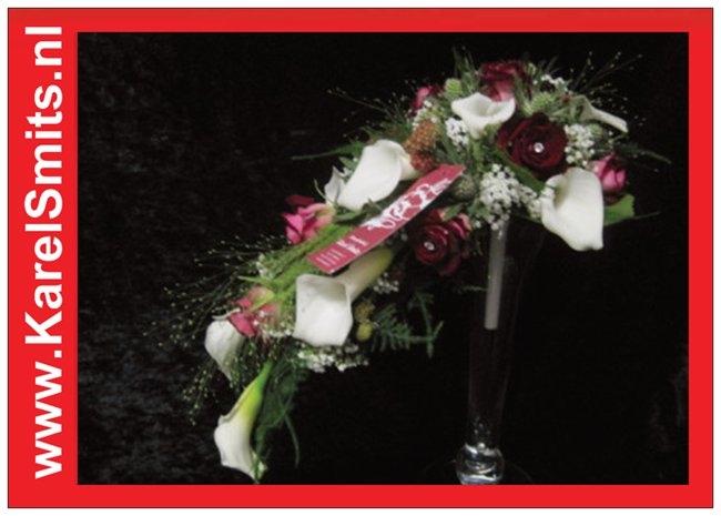 105 Bruidsboeket oplijn Calla Roos Wit
