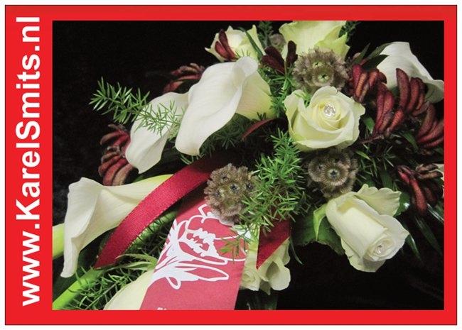 110 Bruidsboeket oplijn Calla Roos Wit