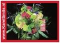 106 Bruidsboeket rondgebonden Roos Celosia